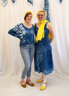 Indigo and Yellow: Pairing classic indigo dye with sunny yellow makes these combinations really pop! Kristina and Anna are wearing a dress and a top (respectively) each dyed using Jacquard's Indigo Dye Kit. Anna's also styling a scarf block printed with Speedball Relief Ink for Fabric, and laser-cut wood earrings and pendant painted with Montana Gold spray paint. Kristina's festooned scarf is painted with Jacquard Dye-Na-Flow Fabric Paint Gold Spray Paint, Indigo Dye, Laser Cut Wood, Wood Earrings, Montana, Sunnies, Flow, Anna, Pairs
