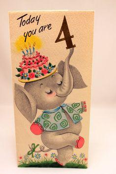 Juvenile Birthday Card w Elephant Age 4 Vintage 1950s Embossed