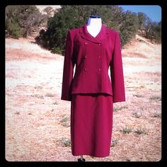 "Le Suit Beautiful wine colored Le Suit. Skirt: waist measures 30"" length 25"" with a 9"" slit in the back. Jacket: 40"" bust 25"" length and 23"" sleeves. Fully lined 100% polyester. 12 petite. No trades or PayPal. Thank you for stopping by @treasuresbytrac  Le Suit Dresses"