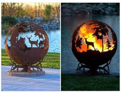 19 Creative Diy Rusted Metal Projects To Beautify Your Yard - Chalkboard Art Metal Fire Pit, Cool Fire Pits, Fire Pit Globe, Esschert Design, Forest View, Fire Pit Designs, Metal Projects, Diy Projects, Project Ideas