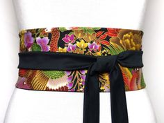 Japanese and Haute Couture Fabric, Reversible Waist belt, Obi waves gold  golden black wide kimono asian bird sash cincher corset f3ef5757f22