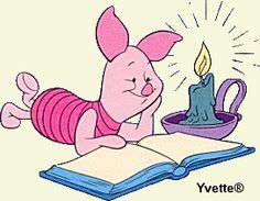 Piglet Winnie the Pooh and reading books by candle light (or flashlight) :D Piglet Winnie The Pooh, Winnie The Pooh Quotes, Winnie The Pooh Friends, Pooh Bear, Eeyore, Tigger, Cute Piggies, Nasu, Mickey Minnie Mouse