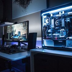 "2,952 Likes, 12 Comments - Mal - PC Builds and Setups (@pcgaminghub) on Instagram: ""An awesome ultrawide setup. How good does the lighting look? By Redditor TheArksmith. - - Check out…"""