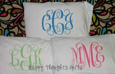 Monogrammed Pillowcase  Great for the Dorm by happythoughtsgifts, $20.00