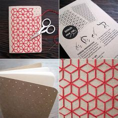 DIY Embroidered Notebook  No directions, but it would be easy enough to take a regular composition book, drill holes in ANY pattern, and then embroider