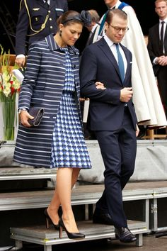 MYROYALSHOLLYWOOD FASHİON:  Celebrations to mark the 1,000 Anniversary of Skara Diocese, Skara, Sweden, August 30, 2014-Crown Princess Victoria and Prince Daniel |