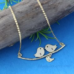 Gold+Love+bird+Necklace+Family+tree+initial+Love+Bird+by+MonyArt,+$29.80