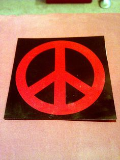 "Red & Black Foil Peace Sign 5""x5"" Decal STICKER new old stock"
