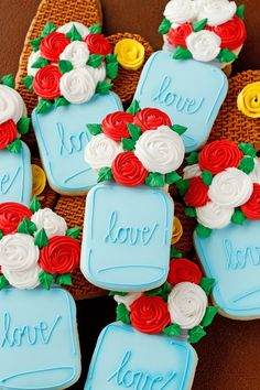 Decorated Sugar Cookies with royal icing-Mason Jar Cookies full of flowers are beautiful and easy to make. Watch this how to video and make some today.