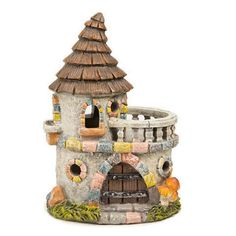 Castle House with Stone Facade. Our enchanting fairy garden castle is crafted from resin with a stone look that's full of colorful brick-style accents highlighting the windows and doors. Fantasy Garden, Stone Facade, Fairy Garden Supplies, Fairy Garden Houses, Fairy Gardening, Fairies Garden, Garden Art, Fairy Furniture, House Ornaments