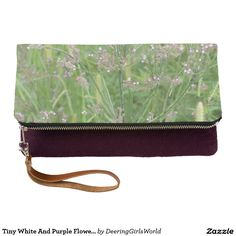 Tiny White And Purple Flowers Clutch
