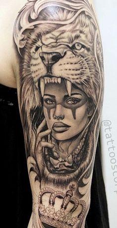 Polynesian Tattoo Designs, Unique Tattoo Designs, Unique Tattoos, Cool Tattoos, Lion Tattoo On Thigh, Lion Tattoo Sleeves, Sleeve Tattoos, Sugar Skull Girl Tattoo, Skull Tattoos