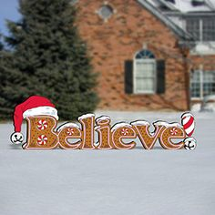 "Gingerbread Believe Sign Pattern;  Holiday sign that looks delicious. 26""H x 87""L.  Pattern #2437  $12.95   ( crafting, crafts, woodcraft, pattern, woodworking, yard art ) Pattern by Sherwood Creations"