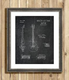 1950s guitar patent art print music patent print by ScarletBlvd, $25.00