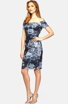 Alex Evenings Off The Shoulder Floral Print Sheath Dress available at #Nordstrom