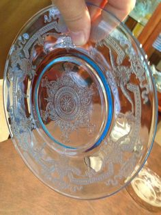 Fire king Blue Philbe Dinnerware Saucer Plate 6 inch. Anchor Hocking made this pattern. # Depression Glass.