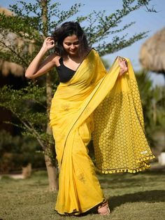 No matter where I go, I will come back to you. My entire life is a miniscule second, while the times I spend with you stretch to infinity! This gorgeous honey bee will swirl around you as you look like a pretty flower in this hand block printed made-in-heaven mul saree in yellow. No matter how much we move forward in time, it is often our very roots that hold us in place.