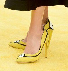 "Sandra Bullock wears custom Rupert Sanderson Minion pumps - Premiere Of Universal Pictures And Illumination Entertainment's ""Minions"" Yellow Carpet - June 27, 2015"