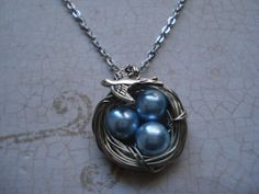 Baby Blue Pearl Bird's Nest  Necklace by sonudesigns on Etsy, $13.00