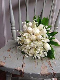 Lily of the Valley and a white tulip, bouquet. ~ {cwl}