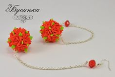 polimer clay rose earring