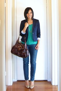 blazer + bright top + skinny jeans + rich-colored bag + accent necklace + heels - love it!