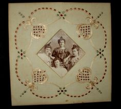 1890 Victorian Society Silk Hand Embroidery Picture Frame With Photo - www.the-gatherings-antique-vintage.net
