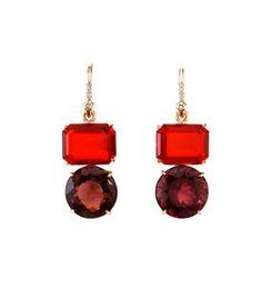 Irene Neuwirth Fire Opal & Pink Tourmaline Earrings