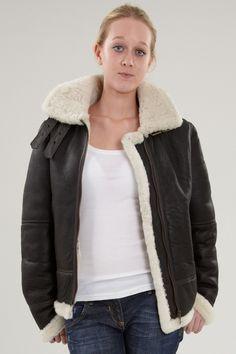 Womens Brown Hooded Sheepskin Duffle Coat. The COSIMA with