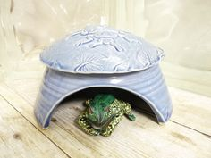Ceramic Frog House Toad Abode Big Ladybug In by MyMothersGarden, Frog House, Toad House, Bee House, Big Bee, Hamster House, Insect Pest, Visual Texture, Whimsical Fashion, Frog And Toad