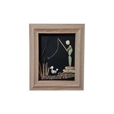 This is a unique pebble art wall hanging that can also stand on any flat surface, made entirely by natural, non-processed materials. It contains pebbles, driftwood and sand collected by me from the woods and beaches of mount Pelion, near the city of Volos, Greece. Fishing Its dimensions are 25 X 30 cm.