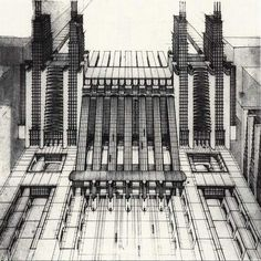 Futuristic cities by Sant Elia dating from the early 19thC