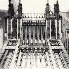 Futurist architecture: Perspective drawing from La Citta Nuova by Sant'Elia, 1914.