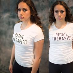 Retail Therapist  plus free tote of your choice Absolutely perfect for all of us.   Retail Therapist Graphic Tee.   No therapy better then this!  100% Pre-shrunk Cotton. Black Screen Print.   Scoopneck.  Available in all sizes.  Please do not purchase this listing I will create your own listing Lewboutiquetwo Tops Tees - Short Sleeve
