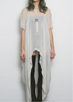 see through white dress + 3/4 balck whool socks