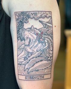 My Princess Mononoke Strength Tarot by Brynn Sladky at Fortune Tattoo. Anime Tattoos, Body Art Tattoos, Sleeve Tattoos, Head Tattoos, Tatoos, Studio Ghibli Tattoo, Tattoo Studio, Miyazaki Tattoo, Tarot Card Tattoo