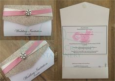 Champagne glitter decorative top pocket fold invitation with dusky pink and pearl ribbon with diamanté and pearl embellishment www.jenshandcraftedstationery.co.uk www.facebook.com/jenshandcraftedstationery Hand Made Wedding stationery: Save the date, Wedding invitations, Table Plans, Place Settings, Guest Books, Post Boxes, Menus, Table Numbers/Names