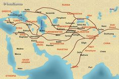 SILK ROAD: It was very rare that caravans traveled for the whole distance since the trade system functioned as a chain. Gold, jade, tea and spices. Vector for the diffusion of ideas and religions (initially Buddhism and then Islam). The Silk Road reached its peak during the Mongolian Empire (13th century) notably after the voyages of Marco Polo (1271-1292).