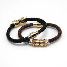 Dubble Skull Leather Bracelets - Different Colours Available