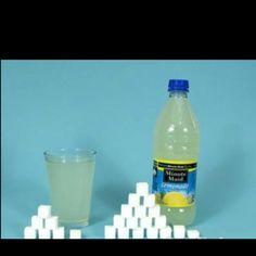 Lemonade is pretty bad. Bad news: Orange juice is not far behind. 1 cube = gram = 1 teaspoon of sugar Bad Sugar, Bad Bad, Bad News, Orange Juice, Lemonade, Cube, Water Bottle, Workout, Drinks