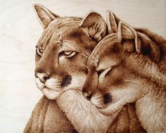 """Lionesses,"" Pyrography/ Woodburning by Cara Jordan"