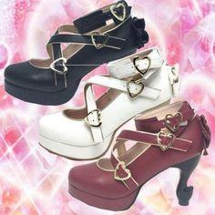 Japanese-Women-Shoes-High-Heels-Cute-Lolita-Sandals-PU-Bandage-Bow-Heart-Shape