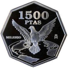 1500 Pesetas 2000 Cambio de Milenio Paloma. Madrid Legos, Madrid, Stamps, Coins, History, Retro, Vintage, Vintage Paper, Door Bells
