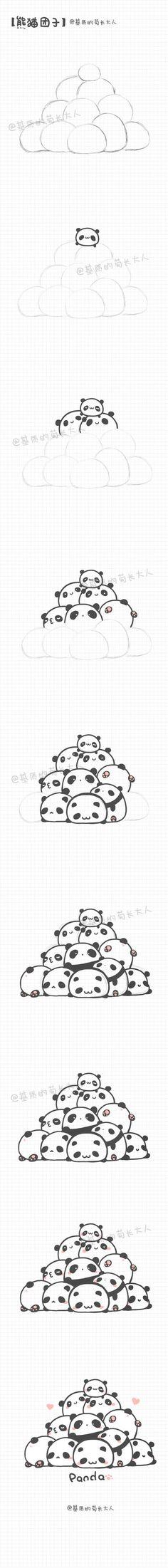 Panda pile drawing