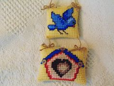 Bluebird and Birdhouse Wall Art in by BunniesMadeOfBread on Etsy