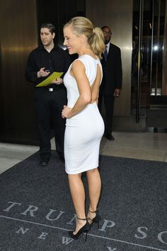 Julie Benz booty in a little white dress and high heels
