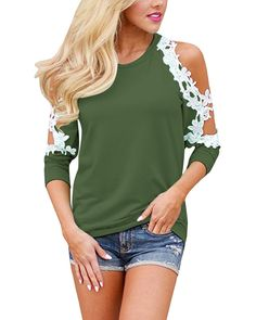 af48e57b0154e StyleDome Womens Off Shoulder Blouse Shirts Crechet Lace Long Sleeve Casual  Round Neck Tee Tops Army