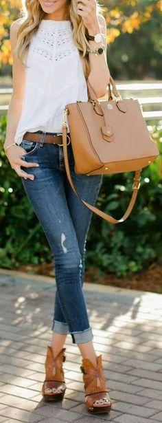Fashion Style I Lace Tank, Skinnies Tory Bag & FP Heels