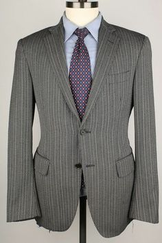 Etro Grey Striped ABSTRACT Lining Wool 38 R mens Sport Coat