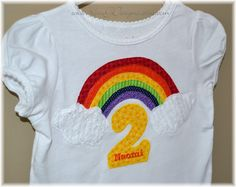 Somewhere Over the Rainbow-Girl's Rainbow Birthday Party Shirt. $28.50, via Etsy.
